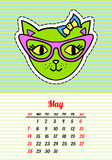 Calendar 2017 with cats. May. In cartoon 80s-90s comic style fashion patches, pins and stickers. Pop art vector. Calendar 2017 with cats. In cartoon 80s-90s royalty free illustration