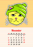 Calendar 2017 with cats. November. In cartoon 80s-90s comic style fashion patches, pins and stickers. Pop art vector. Calendar 2017 with cats. In cartoon 80s-90s royalty free illustration