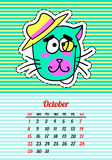 Calendar 2017 with cats. October. In cartoon 80s-90s comic style fashion. Calendar 2017 with cats. In cartoon 80s-90s comic style with fashion patches, pins and stock illustration