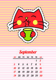 Calendar 2017 with cats. September. In cartoon 80s-90s comic style fashion patches, pins and stickers. Pop art vector. Calendar 2017 with cats. In cartoon 80s stock illustration