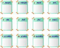 Calendar icons - cdr format. Blank calendar with adhesive plasters Royalty Free Stock Photo