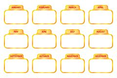 Calendar icons- cdr format. Blank golden calendar icon set isolated on  white background Royalty Free Stock Image