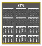 Calendar 2016 chalk on a blackboard with shadow new year Royalty Free Stock Images