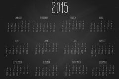Calendar-2015-chalkboard. Hand written calendar for the year 2015 over chalkboard backgrounds Royalty Free Stock Photo