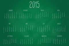 Calendar-2015-chalkboard. Hand written calendar for the year 2015 over chalkboard backgrounds Stock Images
