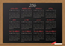 2016 calendar chalkboard. Illustration of chalkboard with 2016 calendar Stock Images