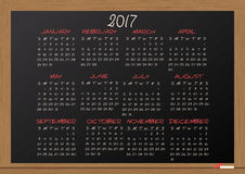 2017 calendar chalkboard. Illustration of chalkboard with 2017 calendar Stock Photos