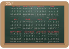 2017 calendar chalkboard. Illustration of chalkboard with 2017 calendar Stock Image