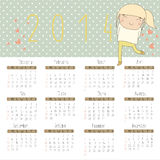 Calendar for 2014 with cheerful girl. Stock Photo