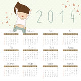 Calendar for 2014 with cheerful girl. Vector calendar for 2014. Calendar with cheerful girl Stock Images
