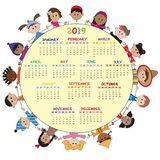 Calendar 2019 with children. Calendar 2019 with happy children Royalty Free Stock Images
