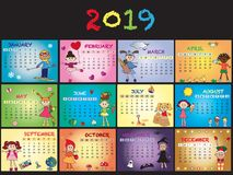 Calendar 2019 with children. Calendar 2019 with happy children stock illustration
