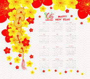 Calendar 2016 Chinese new year cherry Blossom.  Royalty Free Stock Images