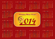 2014 Calendar - Chinese New Year of the Horse Stock Images