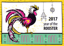 Calendar 2017 Chinese New Year of the Rooster. Royalty Free Stock Photos