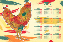 Calendar 2017 Chinese New Year of the Rooster. Vector. Calendar 2017 Chinese New Year of the Rooster . Vector Illustration with xmas tree Royalty Free Stock Images