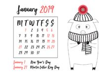 2019 Calendar with Chinese new year symbol. Cute pig in cartoon linear style with realistic pink button detail for every month. Vector illustration, black ink vector illustration