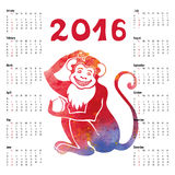 Calendar 2016.Chinese zodiac monkey.Watercolor. Calendar 2016 with Chinese zodiac Monkey in watercolor texture.Sign,symbol,icon icon.New year holiday Vector Royalty Free Stock Photography