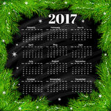 Calendar for 2017 with christmas background vector. Calendar for 2017 year with christmas background vector Royalty Free Stock Images