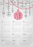 Calendar 2016.Christmas ball,garlands,lettering. Calendar 2016 with Christmas ball and garlands.Ornate swirling decor.Ball with handwriting lettering.New year Stock Photography