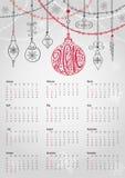 Calendar 2016.Christmas ball,garlands,lettering Stock Photography