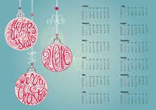 Calendar 2016.Christmas ball,letterin. Cyan. Calendar 2016 with Christmas ball,garlands,gifts.Ornate swirling decor.New year holiday Vector background Stock Photography