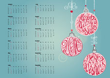 2016 Calendar.Christmas ball,lettering.Cyan. 2016 Calendar with Christmas ball,garlands,wishes.New year holiday Vector background.Handwrigting lettering in the Royalty Free Stock Images