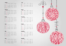 20160Calendar.Christmas ball,lettering.Grey. 2016 new year Calendar with Christmas ball ,garlands,wishes.Ornate swirling decor.Holiday Vector background Stock Photos