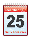 Calendar with Christmas date Royalty Free Stock Images