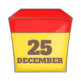 Calendar with christmas date icon, cartoon style Stock Images