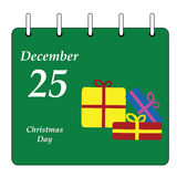 Calendar - Christmas Day gifts Stock Image