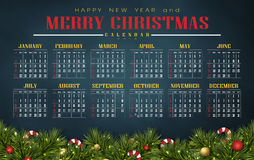 Calendar 2016 with Christmas day. Merry christmas festival illustration and background Royalty Free Stock Images