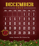 Calendar 2016 with Christmas day. Merry christmas festival illustration and background Royalty Free Stock Photo