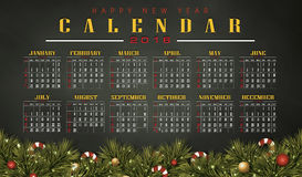 Calendar 2016 with Christmas day. Merry christmas festival illustration and background Royalty Free Stock Image