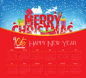 Calendar 2016 with christmas and new year Stock Photo
