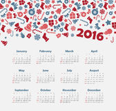 Calendar for 2016 with Christmas pattern. Week Starts Sunday. EPS 10 Stock Photos