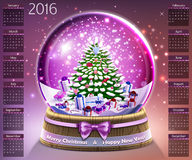 Calendar with christmas snow glass crystal ball on 2016 vector Stock Photography
