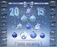 Calendar with christmas snow glass crystal balls on 2015 vector Stock Image