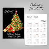 Calendar 2016 with Christmas tree and gifts. Calendar 2016 with classic Christmas tree and gifts vector illustration