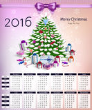 Calendar with christmas tree and gifts on 2016 vector Royalty Free Stock Images