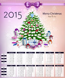 Calendar with christmas tree and gifts on 2015 vector Stock Image