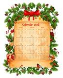 Christmas 2018 calendar decoration vector template. 2018 calendar of Christmas winter holiday decoration, red ribbon bow or holly wreath garland and Santa gifts Royalty Free Stock Image