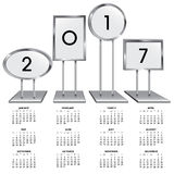 2017 calendar with chrome sign holders Stock Photo