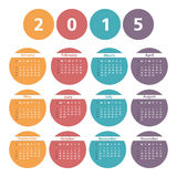 2015 Calendar. In a circles Royalty Free Stock Photos