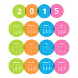 2015 Calendar. In circles on white background Stock Image