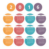 2016 Calendar. In circles, white background Stock Images
