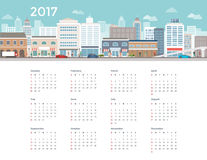 Calendar 2017 city. City buildings, street and people, urban lifestyle 2017 calendar Stock Image