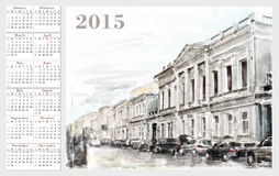 Calendar for 2015. Cityscape. Vintage style Stock Photos