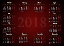 Calendar for 2018 on the claret background Stock Image