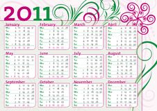 Calendar with classic flower decoration Stock Images